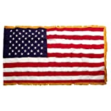 US Flag 4X6 Foot SolarMax Nylon With Pole Hem & Fringe For Sale