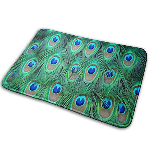 FunnyCustom Doormat Peacock Feathers Great Non Slip Water Absorption Mats for -