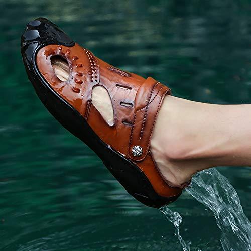 verano Sandalias Para Al Caminar Aire Deportes Cómodos Cuero De Zapatos Primavera Hombres Costura Brown Libre wwAR0q