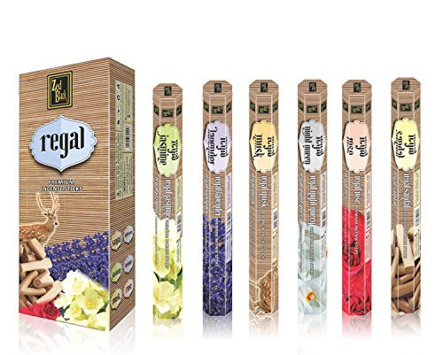 Zed Black Regal Natural Fragrance Sticks – Long-lasting Pleasant Incense Sticks – Creates Peaceful Aura around You – Premium Stick Incense - Pack of 6 - 120 Sticks