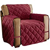 Collections Etc Quilted Velvet Furniture Protector Cover, Burgundy, Chair