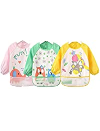 4G-Kitty baby drool cutton waterproof bibs with long sleeves as a set gidt for children on 0-3 years old.