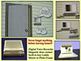 Senior Digital Voice Reminder with Magnetic Door Contact, Key Holder and Mirror or Photo Frame