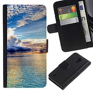 EJOY---Tirón de la caja Cartera de cuero con ranuras para tarjetas / Samsung Galaxy S4 IV I9500 / --Hermosas Nubes y agua