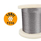 T316-Stainless Steel 1/8'' Aircraft Wire Rope for