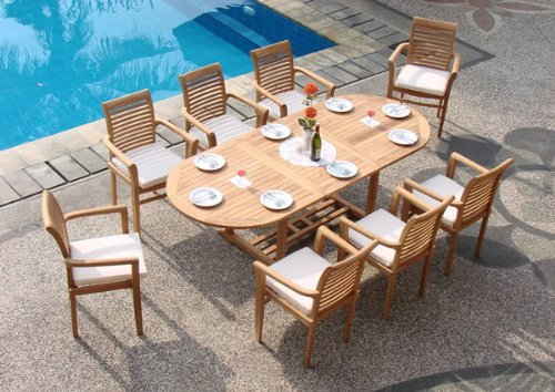 """New 7 Pc Luxurious Grade-A Teak Dining Set - 94"""" Mas Oval Table (Trestle Leg) And 6 Mas Stacking Arm Chairs #WHDSMSa - You can lengthen the table with minimal effort by simply opening the butterfly leaf extensions. Picture shown with 8 chairs, you will receive only 6 chairs. Fully Assembled,Stackable chairs for easy storage. ADD SUNBRELLA FABRIC CUSHIONS BY SEARCHING ASIN """"B01I4CC166"""" or """"Wholesaleteak Dining Cushion"""" ON AMAZON, CUSTOM MADE FOR THESE STYLE CHAIRS - patio-furniture, dining-sets-patio-funiture, patio - 51V2ENHO85L -"""