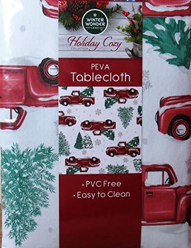 Winter Wonder Lane Vinyl Tablecloth, Red Truck Christmas Tree Farm Design, Eco Friendly PEVA, Flannel Backed 52 x 90 Rectangle (52x90)
