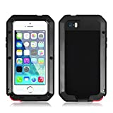 iPhone 5S Case, Gorilla Glass Luxury Aluminum Alloy Protective Metal Extreme Shockproof Military Bumper Heavy Duty Case Cover with Fingerprint Recognition Function for Apple iPhone 5 5S (Black)