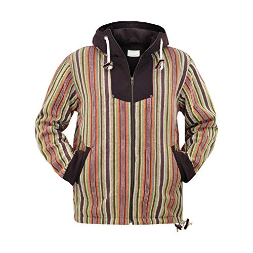 virblatt - Mens Lined Baja Hoodie and Baja Jacket with Black-and-White Pattern - Amsterdam Blue S