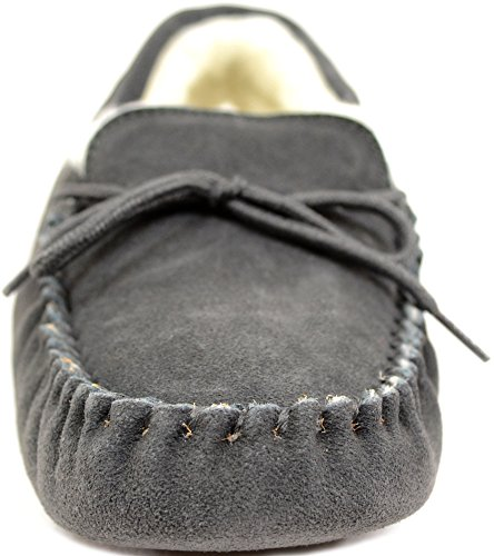 SNUGRUGS Herren Wool Lined Suede Moccasin with Soft Sole Hausschuhe, Grau (Dunkelgrau), 41.5 EU