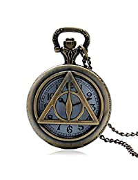 Harry Potter Gift, Deathly Hallows Quartz Pocket Watch for Mens Watch Kids Gift