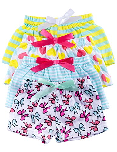 Caramel Cantina Little Girls 4 Pack Boxer Style Pajama Shorts in Fun Patterns (4T, Turquoise/Pink Stripes)
