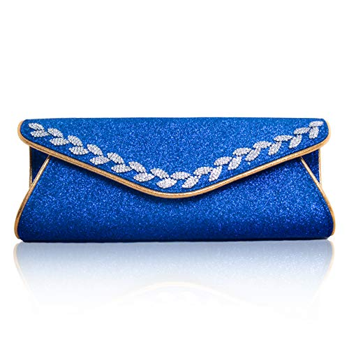 women's Blue shoulder for sparkly wedding rhinestones strap evening with clutches TOIHSUAN bags OCqdq