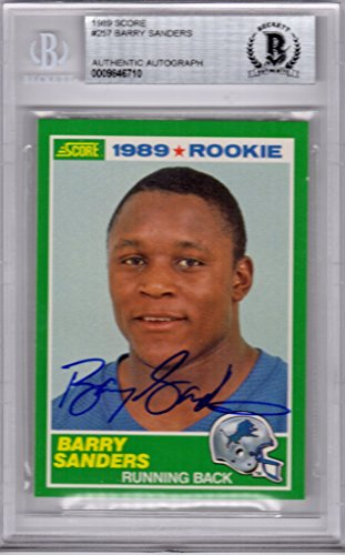 Barry Sanders Signed Detroit Lions 1989 Score Rookie Card #257 - (Beckett Encapsulated)