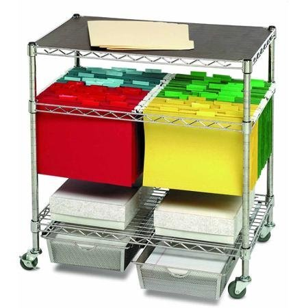 Seville Classics Heavy-Duty Office Utility File Cart, Chrome by Seville Classics