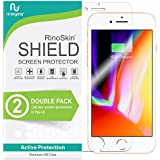 [2-Pack] RinoGear for iPhone 8 Plus / 7 Plus Screen Protector [Active Protection] (Edge-to-Edge) Flexible HD Crystal Clear Anti-Bubble Film