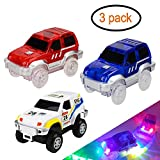 Track Cars Light Up Toy Car Track (3-Pack),5 LED Flashing Lights,Glow in the Dark Compatible with Most Tracks
