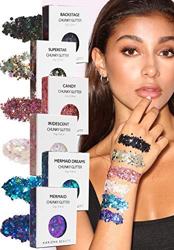 Face Glitter Pack ✮ KARIZMA Beauty ✮ 60g Festival Glitter Cosmetic Chunky Face Body Hair Nails (Best Social Media Sites For Musicians)