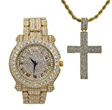 Bling-ed Out One of Ten Jesus Pieces You Must own - Ice'd Out Cross Charm Pendent on Gold Tone Rope Necklace w/Luxurious Gold Watch - L0504-SSS42 Gold