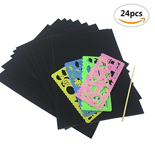 Mseeur Scratch and Sketch Art papers, Scratch Art Rainbow with Two Stylus and Four Different Colors of the Rulers