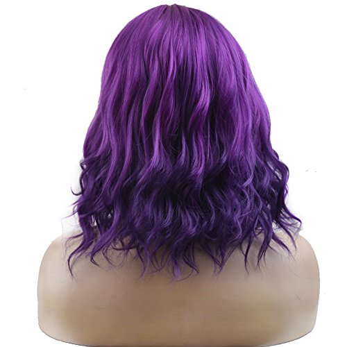 BERON Short Curly Bob Wig Charming Women Girls Beach Wave Wigs for Cosplay Costume Party Wig Cap Included (Mix Purple) by BERON (Image #3)