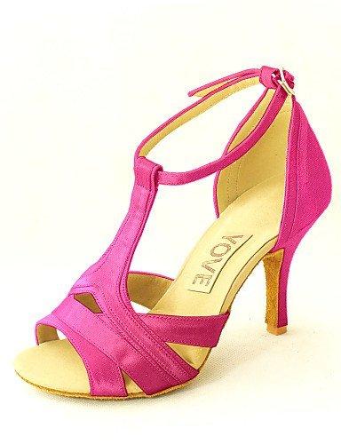 Blue Red Customizable Women's Dance Pink Shoes Black Purple White ShangYi Heel Fuchsia fuchsia Latin Salsa Yellow Customized Satin v64wdqgA