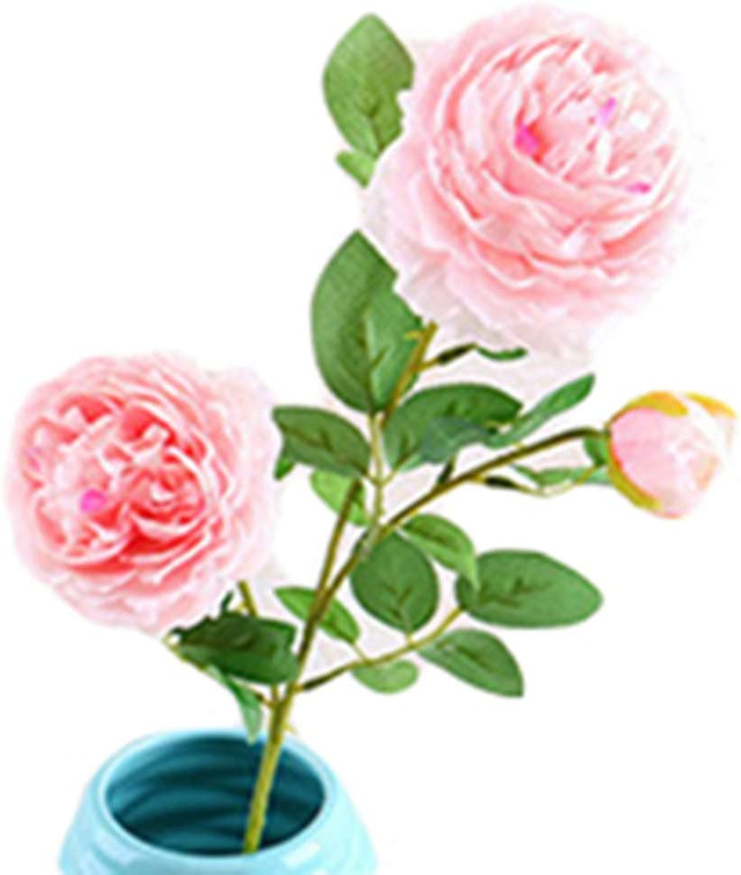 pittospwer 3 cabezas realista flor de peonía artificial casa hotel boda cumpleaños fiesta decoración White Pink: Amazon.es: Jardín