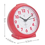 JCC Macaron Series Small Handhold Size Bedside Desk Alarm Clock with Light Night, Snooze Function - Battery Operated