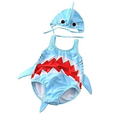 QinMMROPA bañador de con Forma de tiburón para niño bebé, Trajes de baño Gorra de baño bañador pañal bañador Body de niños niñas Bebes
