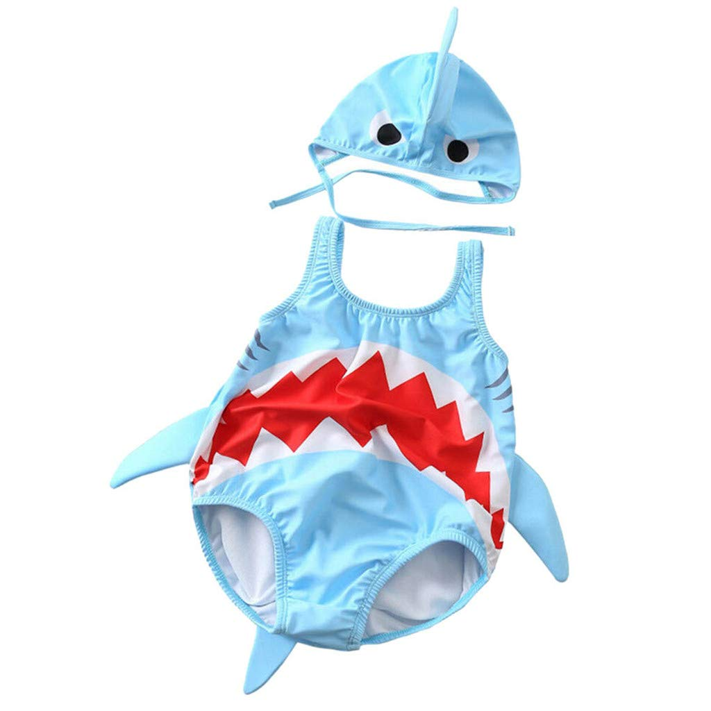 WUAI Baby Boys Girls Swimsuit Cute Cartoon Shark One Piece Swimwear Toddlers Bathing Suit Rash Guard Surfing Suit(Blue,2-3 Years)
