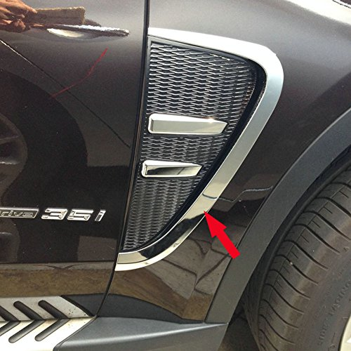 (Generic Chrome Front Side Fender Vents Air Outlet Cover Trim Fit For BMW X5 2014 2015 2016 2017 -2PCS)