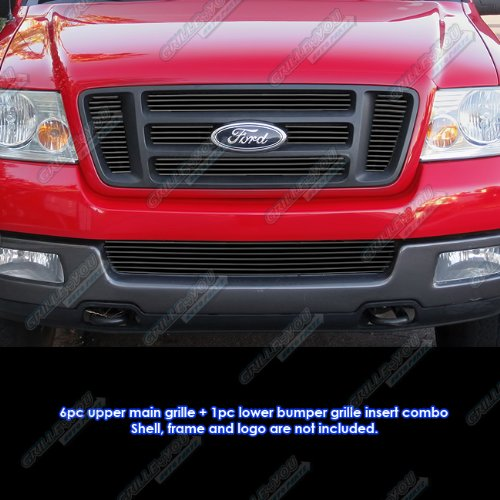 (APS Fits 2004-2005 Ford F-150 Bar Style Black Billet Grille Grill Insert Combo # F67995H)