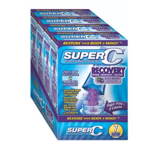 Super C Vitamine Recovery & Mix boisson minérale, de raisin Acai, Stick 2.5g, 28-Count
