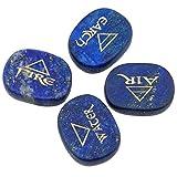 rockcloud Healing Crystal 4pcs Engraved Triangle Symbol Stones Palm Stones Reiki Balancing,Lapis Lazuli