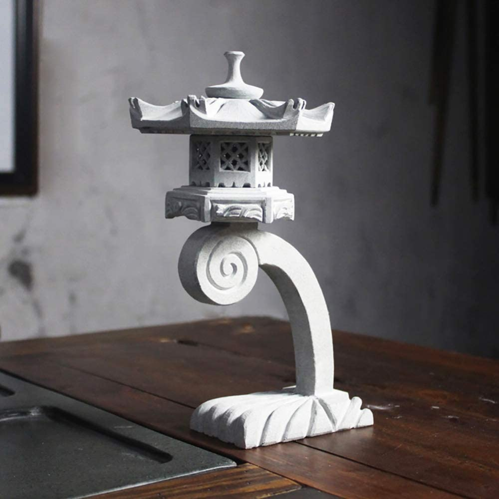 LIUSHI Stone Lantern Pagoda Garden Ornament Chinese/Japanese 22cm Sculpture Lantern Patio Decor