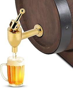 Barrel Tap - Copper Faucet Tap Wine Beer Barrel Beverage Drink Dispenser Replacement Spigot Golden(1.2 cm)
