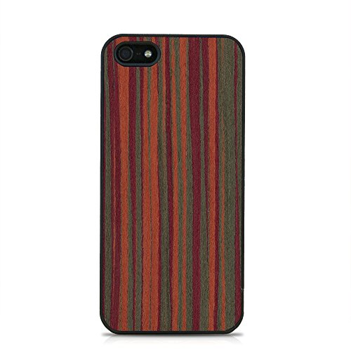 iPhone SE Wood Case by WOODMI - Wooden iPhone 5 Case - Real exotic red wood - Slim Fit - Lightweight - Wood Plastic Hybrid Case - iPhone 5 & SE Compatible - Retail Box Packaging