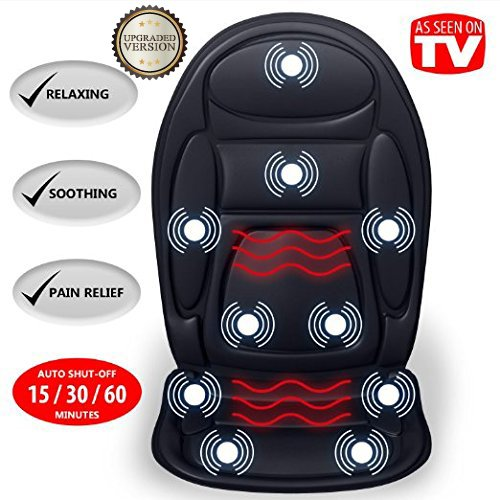 Gideon Seat Cushion Vibrating Back Massager for Body, Shoulder and Thighs with Heat Therapy / Electric Body Massage for Chair; Relax, Sooth and Relieve Thigh, Shoulder and Back Pain - Heat Massager Body