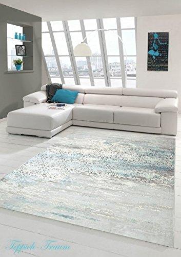 Designer Teppich Moderner Teppich Wollteppich Meliert Wohnzimmer Teppich Wollteppich Ornament Türkis Grau Cream Größe 200 x 290 cm