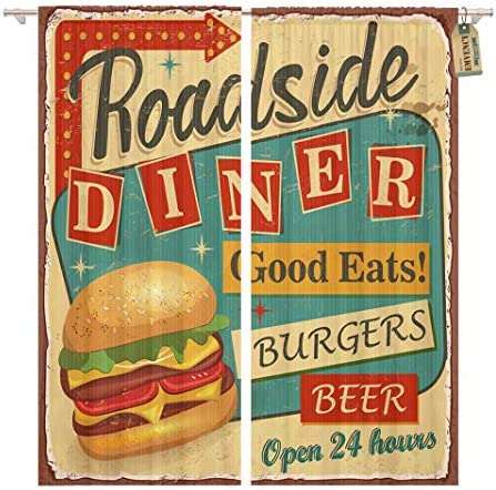 Golee Window Curtain 1950S Vintage Roadside Diner Metal Sign Burger Retro Food Home Decor Pocket Drapes 2 Panels Curtain 104 x 96 inche