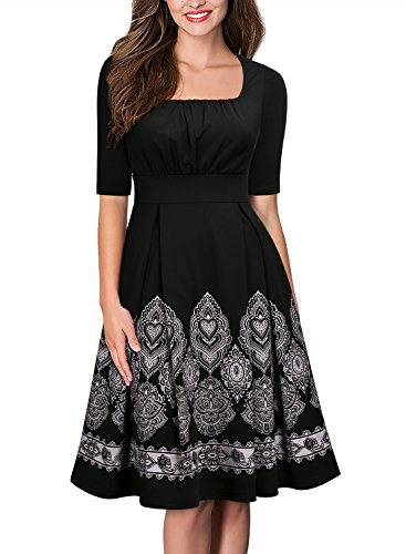 Miusol Women's Vintage Square Neck Ruffles Embroidered Cocktail Swing Dress,Black,Large