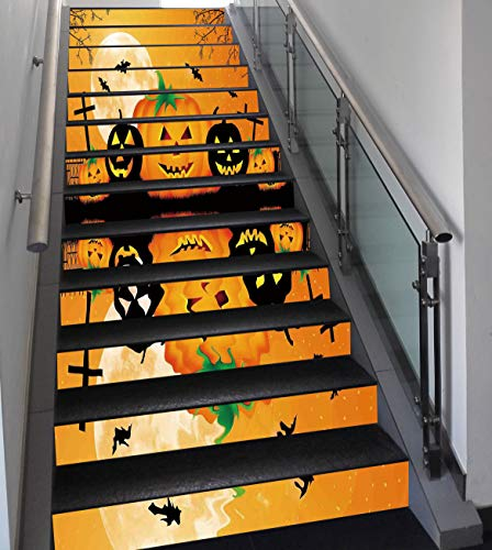 Stair Stickers Wall Stickers,13 PCS Self-adhesive,Halloween Decorations,Spooky Carved Halloween Pumpkin Full Moon with Bats and Grave Lake,Orange Black,Stair Riser Decal for Living Room, Hall, Kids Ro -