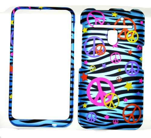 Colorful Peace Sign on Blue Zebra Strips Rubberized Snap on Hard Skin Shell Protector Cover Case for LG Revolution 4g vs910