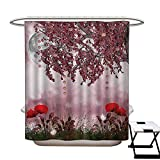 Poppy Anti Bacterial Shower Curtain Liner Dream Garden with Poppies Full Moon Floral Tree Branches Fairy Tale Paradise Scenery Non Toxic,Rust Proof Grommets Holes Mauve Red48×72""