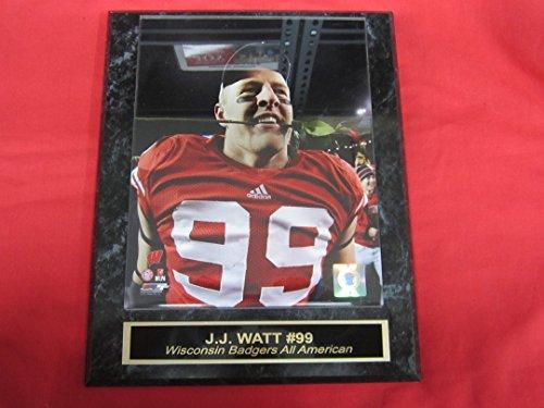 (J.J. Watt Wisconsin Badgers Rose Bowl Collector Plaque w/8x10 PHOTO)