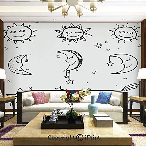 Lionpapa_mural Removable Wall Mural   Self-Adhesive Large Wallpaper,Hand Drawn Image of Sun Moon Stars Emoji Kids Nursery Room Art Print Image,Home Decor - 100x144 inches ()