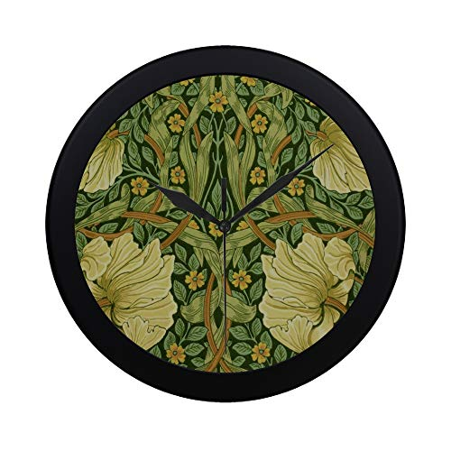 WBSNDB Modern Simple Morris Co Pimpernel Wallpaper Privet Slate Pattern Wall Clock Indoor Non-Ticking Silent Quartz Quiet Sweep Movement Wall Clcok for Office,Bathroom,livingroom Decorative 9.65 Inch