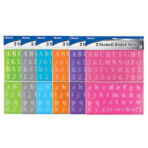 Lowercase Letter Stencils (3 Pk, BAZIC 20mm Size Lettering Stencil Ruler Set, Assortment (Total of 6))