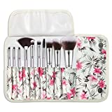 Halo World 10 Pieces Makeup Brushes Vegan and Cruelty Free Foundation Eyeshadow Lip Makeup Brush Set with Leather Bag (Silver)