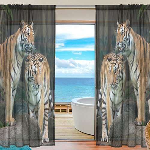 Tiger Pattern Print Window Sheer Curtain Panels, Christmas Decoration, Door Window Gauze Curtains Living Room Bedroom Kid Office Window Curtain 55x78 inch Two Panels Set - Out Of Print Costume Patterns